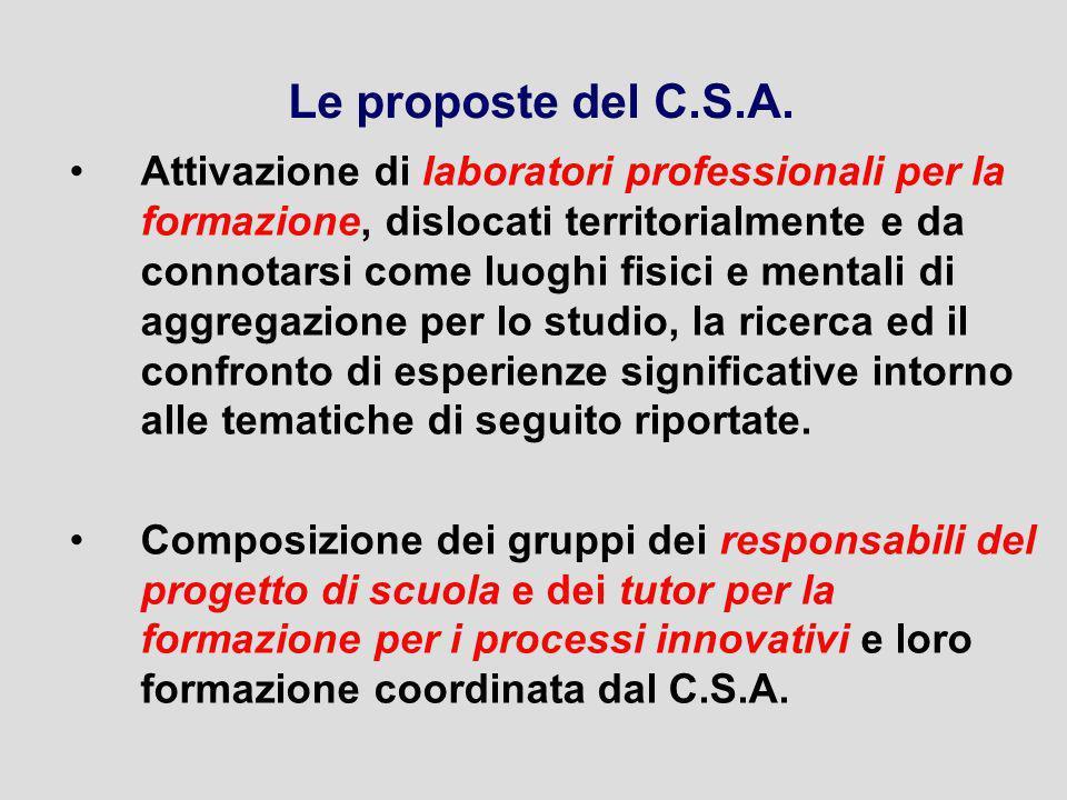 Le proposte del C.S.A. Attivazione di laboratori professionali per la formazione, dislocati territorialmente e da connotarsi come luoghi fisici e ment