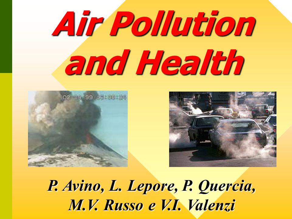 InquinanteSorgente Livello Accettabile Livello di Attenzione Livello di Allarme Effetti sulla Salute SO 2 Combustione di olio e petrolio 100 µg/m 3 (media giornaliera) 250 µg/m 3 (media giornaliera) 600 µg/m 3 (media oraria) Increasing of mortality; increasing of hospitalization for respiratory treatment NO 2 Traffico auto- veicolare e Impianti di combustione 135 µg/m 3 (media oraria) 200 µg/m 3 (media oraria) 400 µg/m 3 (media oraria) Increasing of mortality; increasing of hospitalization for respiratory treatment and asthma CO Traffico auto- veicolare e Combustione del petrolio 10 mg/m 3 (media mobile su 8 ore) 30 mg/m 3 (media oraria) Increasing of daily mortality; increasing of respiratory and cardio diseases Ozono Reazioni fotochimiche 130 µg/m 3 (media oraria) 180 µg/m 3 (media oraria) 360 µg/m 3 (media oraria) Increasing of mortality; increasing of hospitalization for respiratory treatment PM10 Traffico autoveicolare 50 µg/m 3 (media giornaliera) Increasing of mortality, expecially for respiratory diseases Sorgenti, Livelli ed Effetti sulla Salute Umana