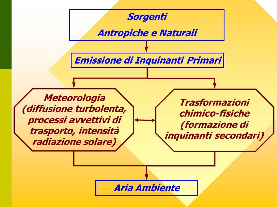 Sorgenti Antropiche e Naturali Emissione di Inquinanti Primari Aria Ambiente Meteorologia (diffusione turbolenta, processi avvettivi di trasporto, int