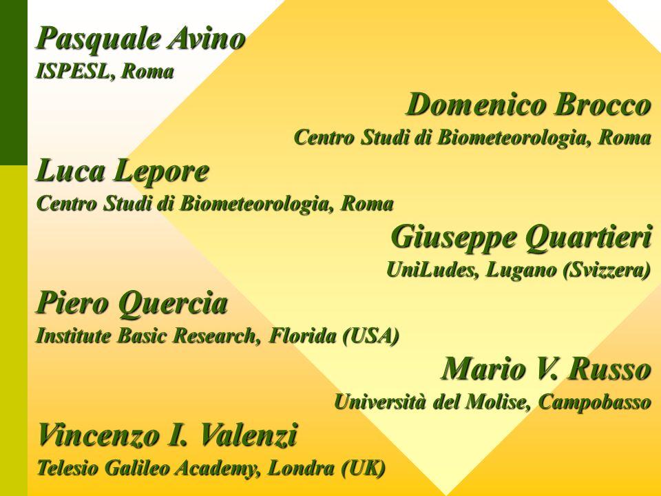 Pasquale Avino ISPESL, Roma Domenico Brocco Centro Studi di Biometeorologia, Roma Luca Lepore Centro Studi di Biometeorologia, Roma Giuseppe Quartieri