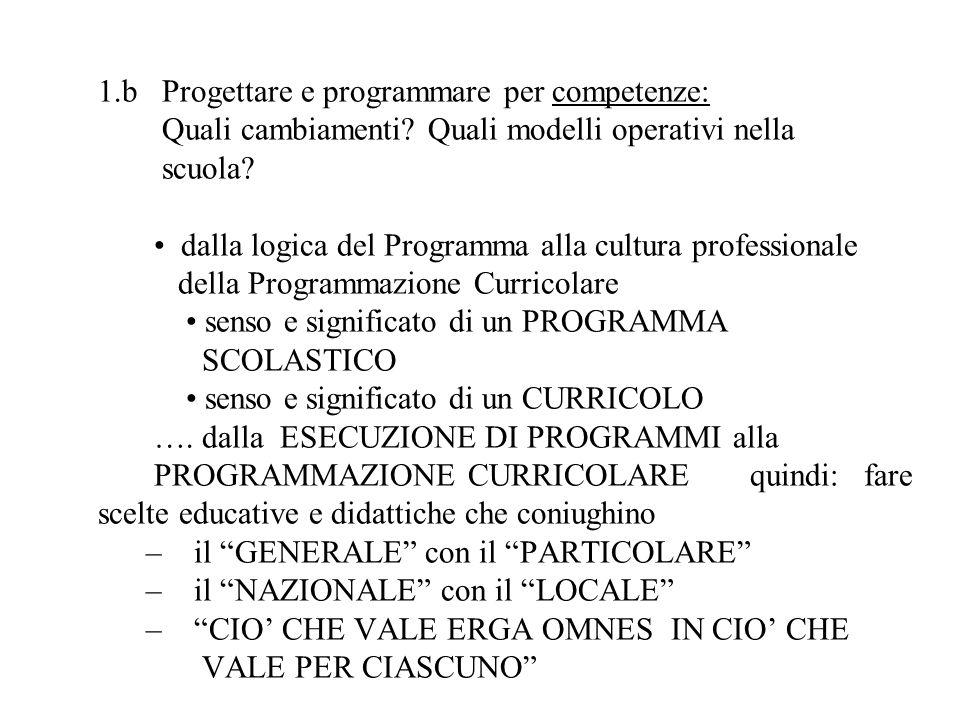 1.b Progettare e programmare per competenze: Quali cambiamenti? Quali modelli operativi nella scuola? dalla logica del Programma alla cultura professi