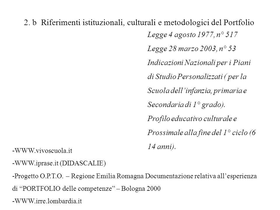 2. b Riferimenti istituzionali, culturali e metodologici del Portfolio Legge 4 agosto 1977, n° 517 Legge 28 marzo 2003, n° 53 Indicazioni Nazionali pe