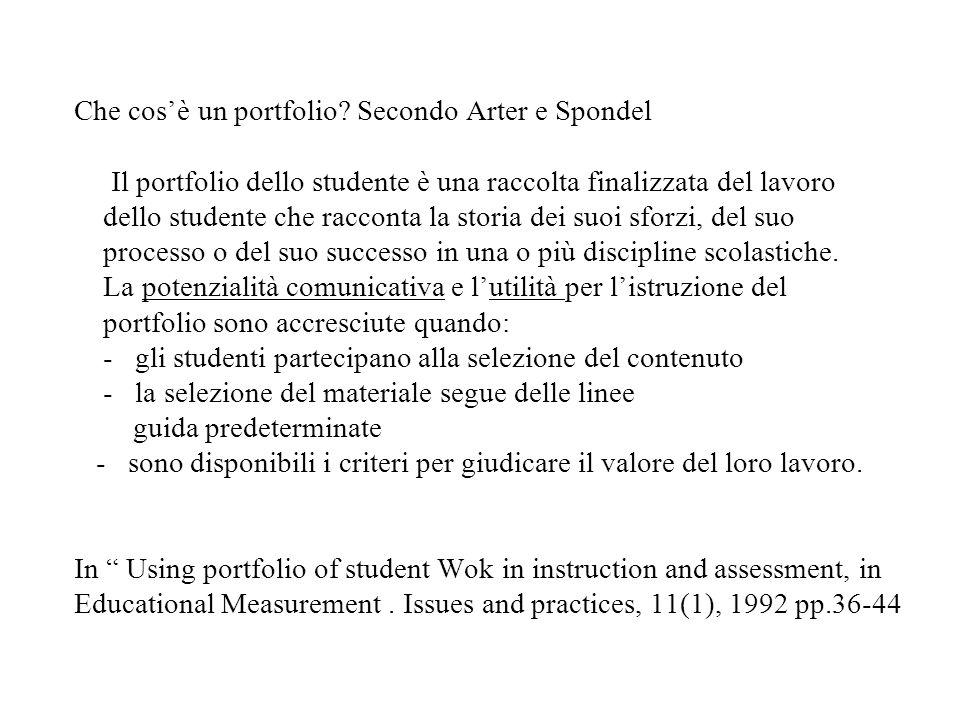 Che cosè un portfolio? Secondo Arter e Spondel Il portfolio dello studente è una raccolta finalizzata del lavoro dello studente che racconta la storia