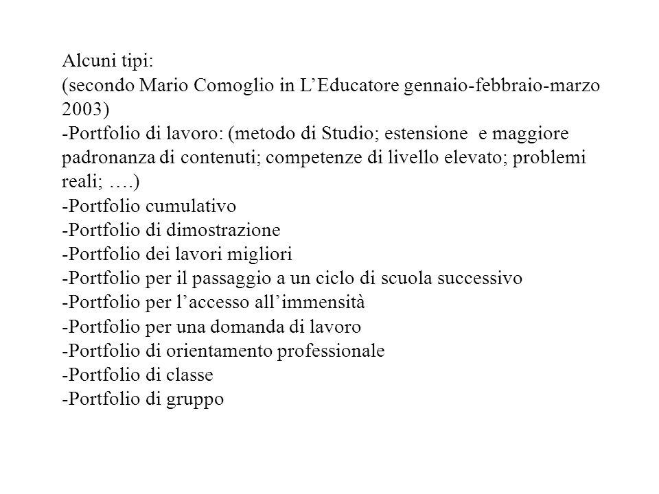 Alcuni tipi: (secondo Mario Comoglio in LEducatore gennaio-febbraio-marzo 2003) -Portfolio di lavoro: (metodo di Studio; estensione e maggiore padrona