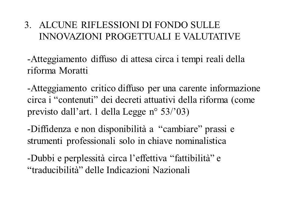 3.ALCUNE RIFLESSIONI DI FONDO SULLE INNOVAZIONI PROGETTUALI E VALUTATIVE -Atteggiamento diffuso di attesa circa i tempi reali della riforma Moratti -A