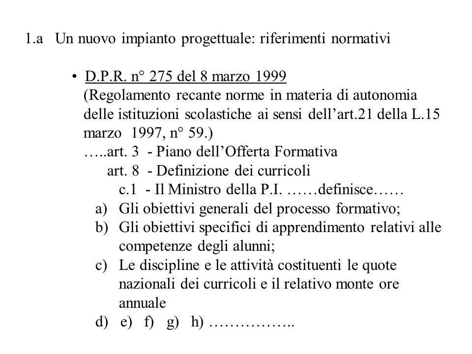 1.a Un nuovo impianto progettuale: riferimenti normativi D.P.R. n° 275 del 8 marzo 1999 (Regolamento recante norme in materia di autonomia delle istit