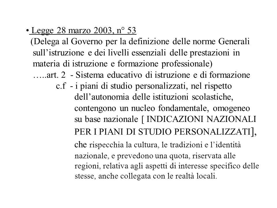 Legge 28 marzo 2003, n° 53 (Delega al Governo per la definizione delle norme Generali sullistruzione e dei livelli essenziali delle prestazioni in mat
