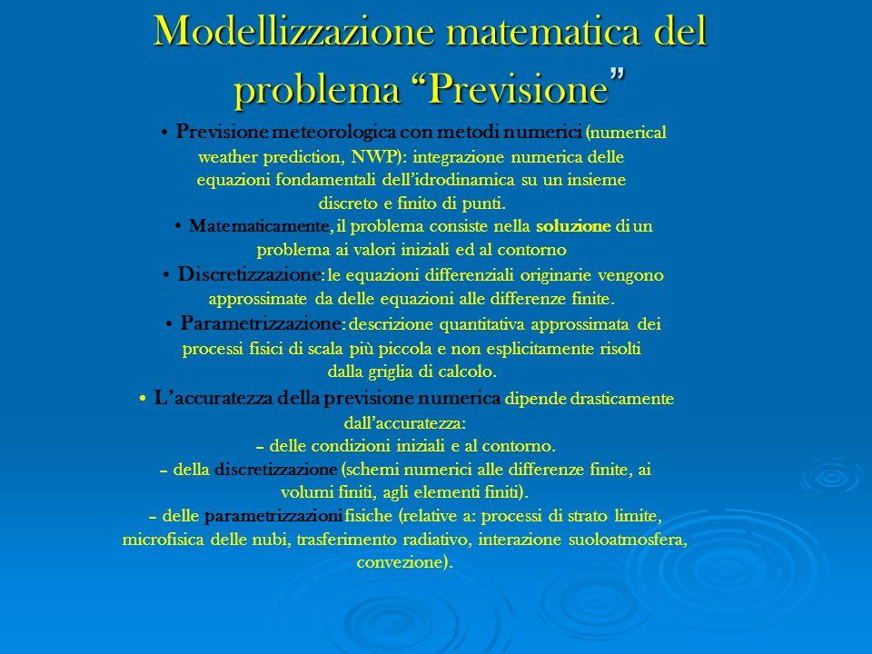 Modellizzazione matematica del problema Previsione Modellizzazione matematica del problema Previsione Previsione meteorologica con metodi numerici (nu