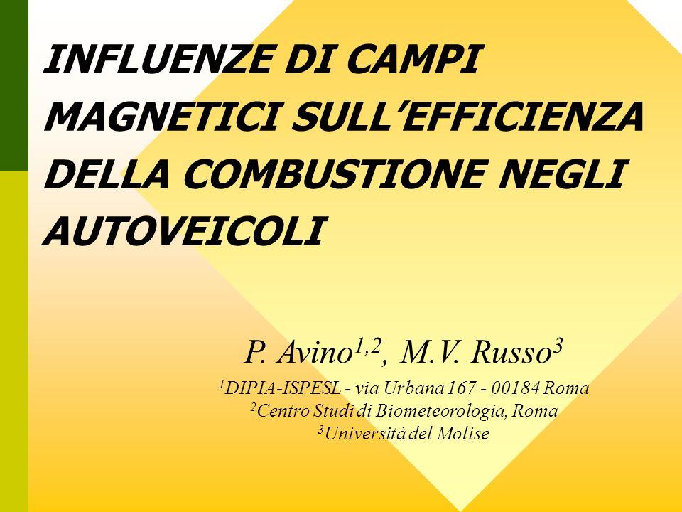 INFLUENZE DI CAMPI MAGNETICI SULLEFFICIENZA DELLA COMBUSTIONE NEGLI AUTOVEICOLI P. Avino 1,2, M.V. Russo 3 1 DIPIA-ISPESL - via Urbana 167 - 00184 Rom