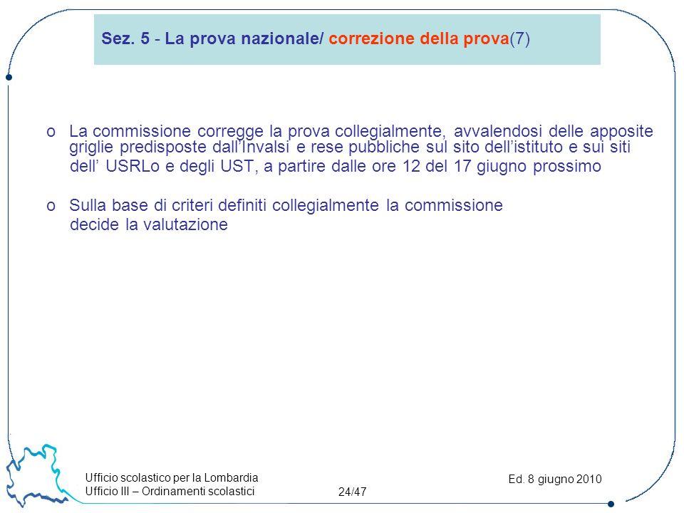 Ufficio scolastico per la Lombardia Ufficio III – Ordinamenti scolastici 24/47 Ed.
