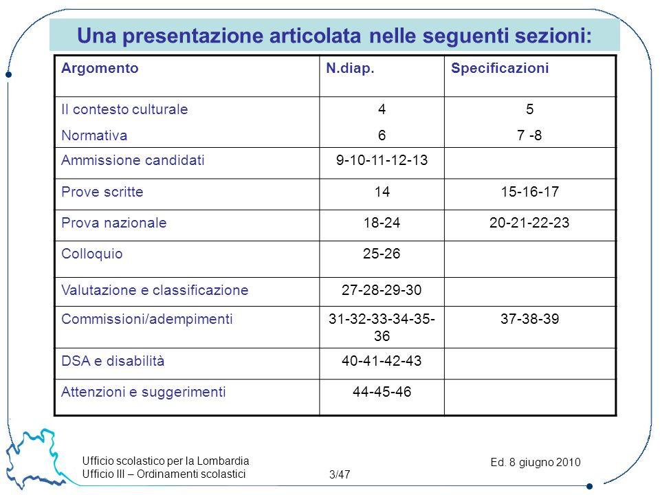 Ufficio scolastico per la Lombardia Ufficio III – Ordinamenti scolastici 4/47 Ed.