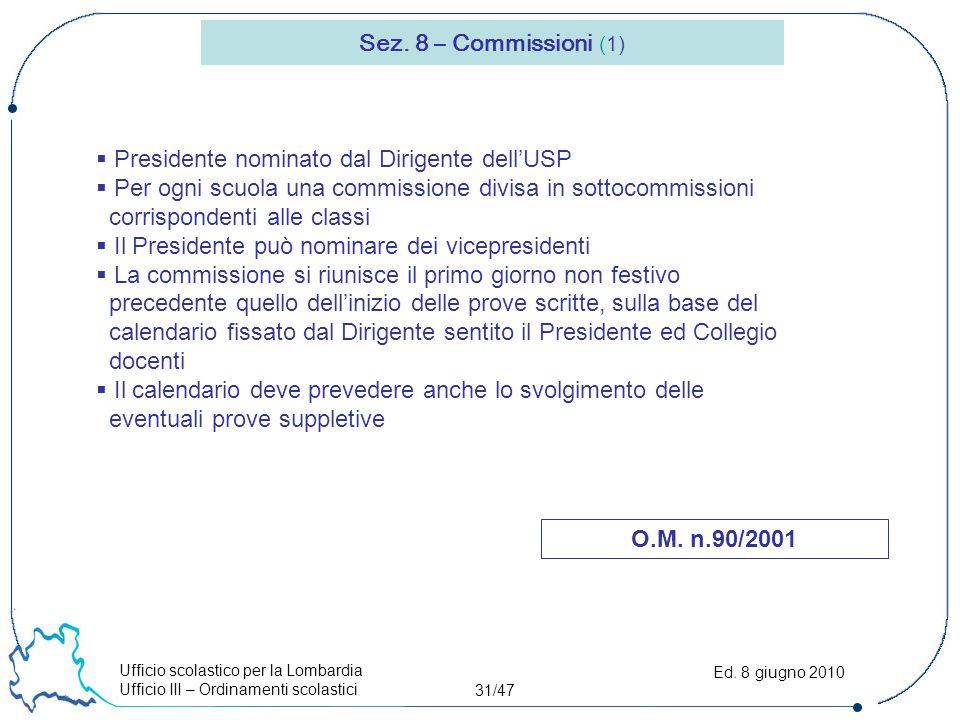 Ufficio scolastico per la Lombardia Ufficio III – Ordinamenti scolastici 31/47 Ed.