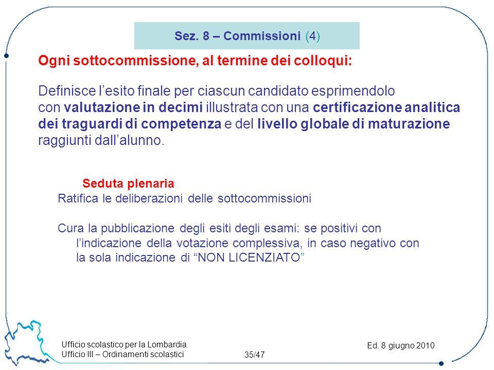 Ufficio scolastico per la Lombardia Ufficio III – Ordinamenti scolastici 35/47 Ed.