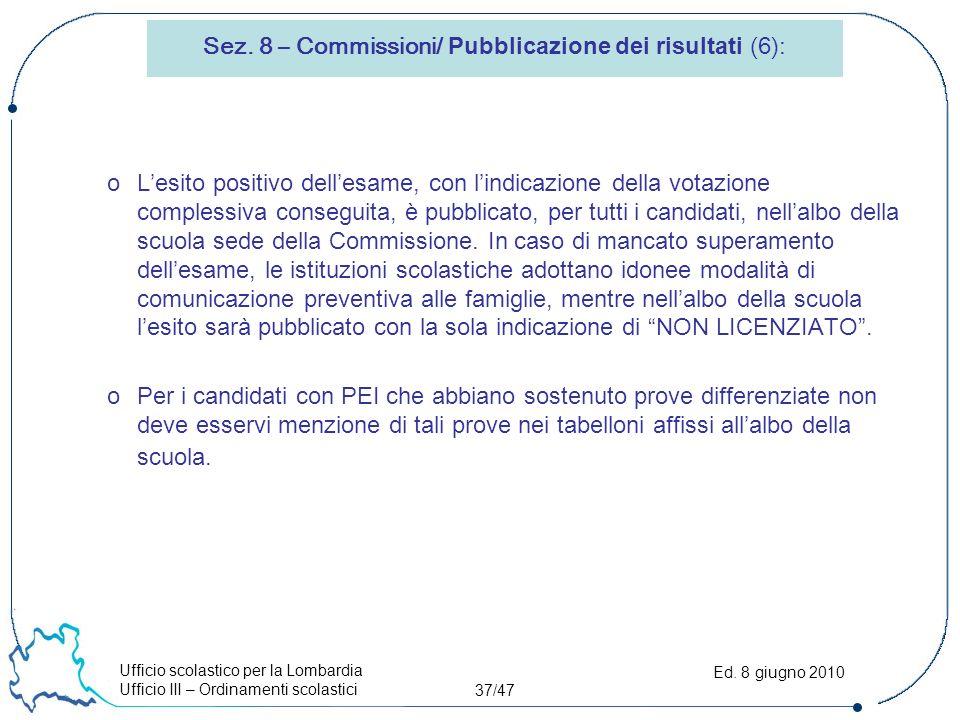 Ufficio scolastico per la Lombardia Ufficio III – Ordinamenti scolastici 37/47 Ed.