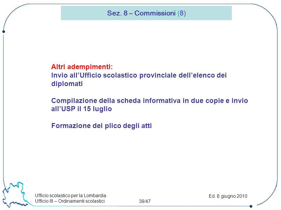 Ufficio scolastico per la Lombardia Ufficio III – Ordinamenti scolastici 39/47 Ed.