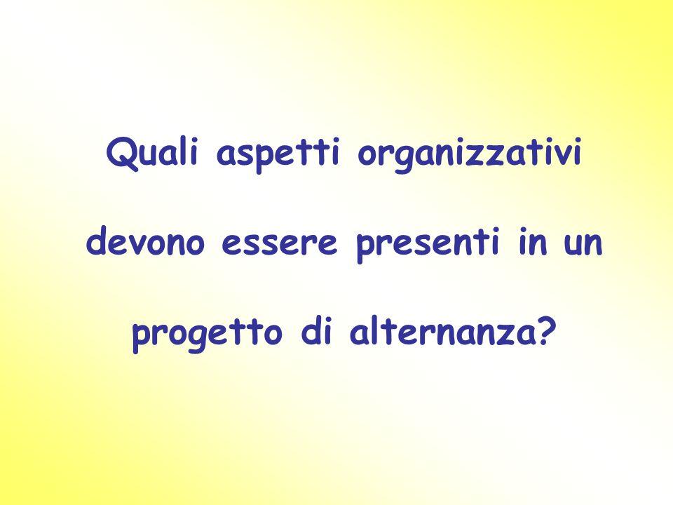 Quali aspetti organizzativi devono essere presenti in un progetto di alternanza
