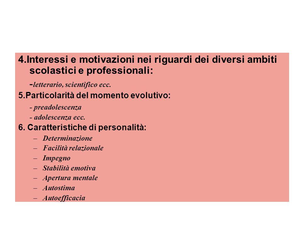 4.Interessi e motivazioni nei riguardi dei diversi ambiti scolastici e professionali: - letterario, scientifico ecc.
