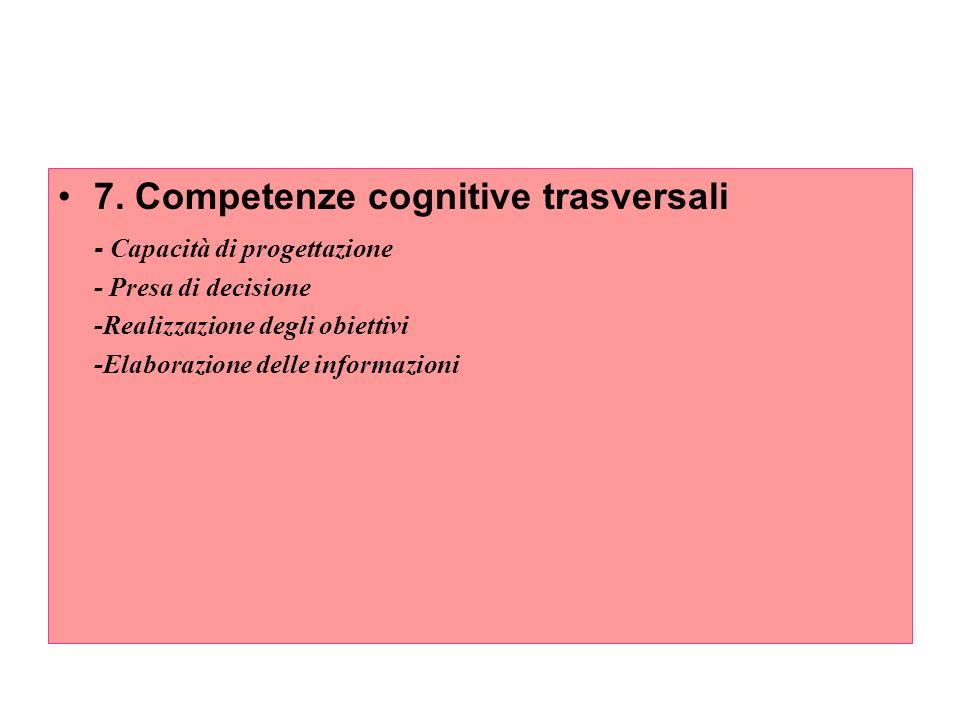 7. Competenze cognitive trasversali - Capacità di progettazione - Presa di decisione -Realizzazione degli obiettivi -Elaborazione delle informazioni