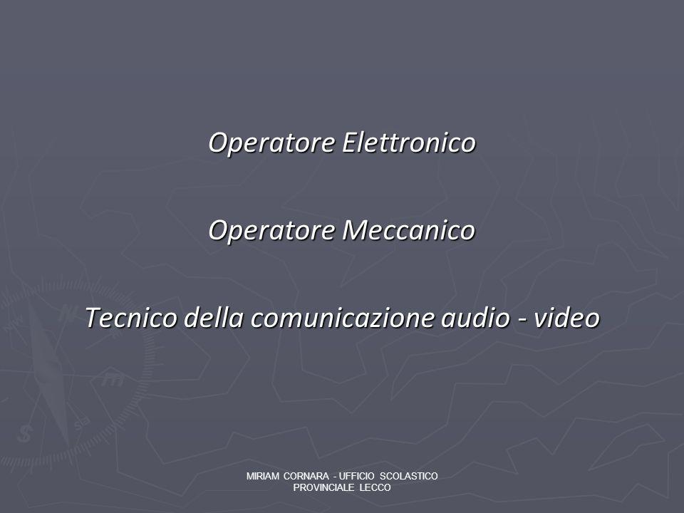 Operatore Elettronico Operatore Meccanico Tecnico della comunicazione audio - video MIRIAM CORNARA - UFFICIO SCOLASTICO PROVINCIALE LECCO