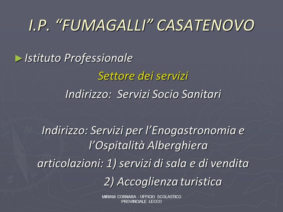 I.P. FUMAGALLI CASATENOVO Istituto Professionale Istituto Professionale Settore dei servizi Indirizzo: Servizi Socio Sanitari Indirizzo: Servizi per l