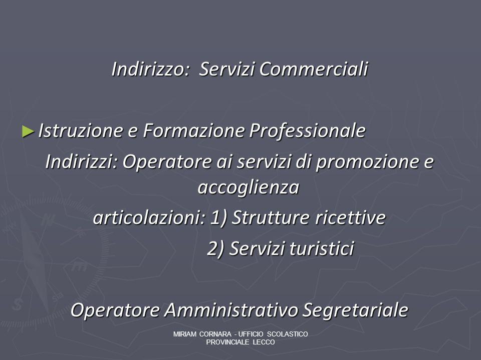 Indirizzo: Servizi Commerciali Istruzione e Formazione Professionale Istruzione e Formazione Professionale Indirizzi: Operatore ai servizi di promozio