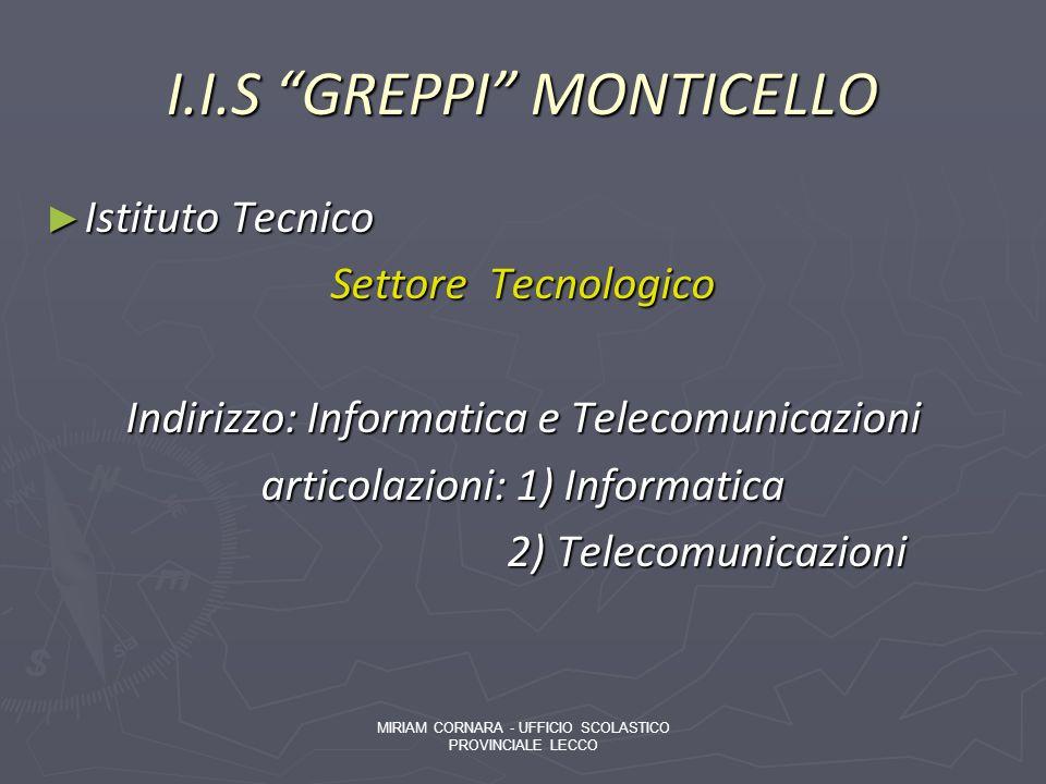 I.I.S GREPPI MONTICELLO Istituto Tecnico Istituto Tecnico Settore Tecnologico Indirizzo: Informatica e Telecomunicazioni articolazioni: 1) Informatica