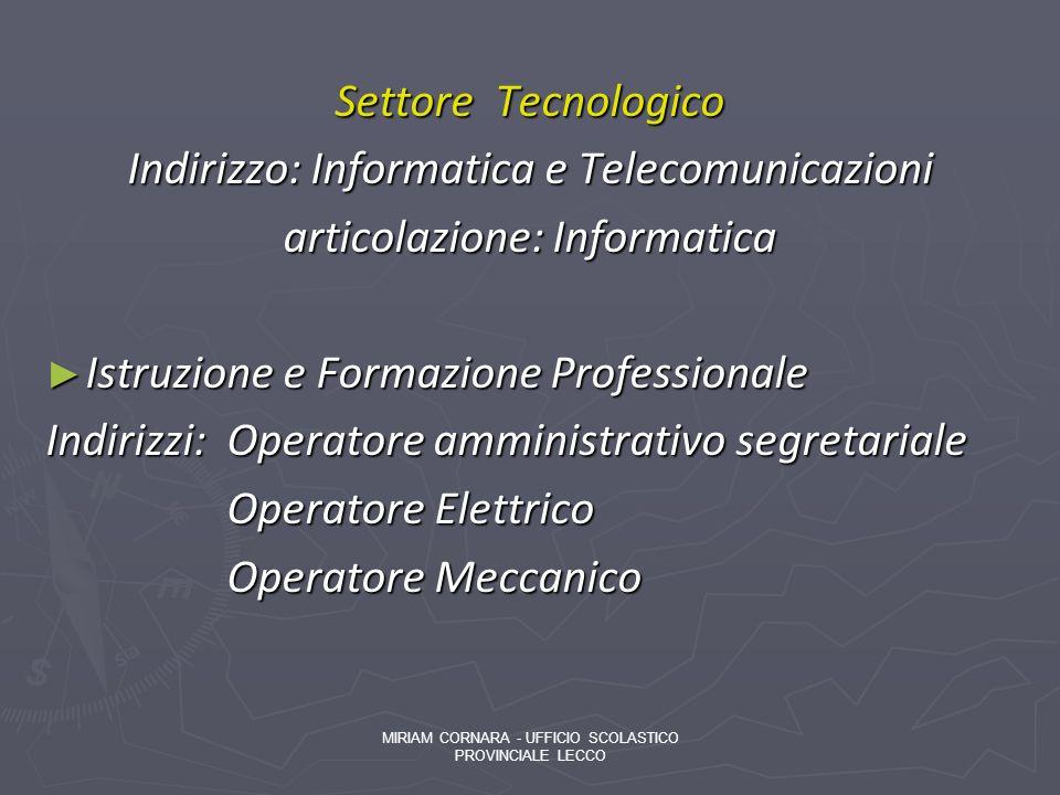 Settore Tecnologico Indirizzo: Informatica e Telecomunicazioni articolazione: Informatica Istruzione e Formazione Professionale Istruzione e Formazion