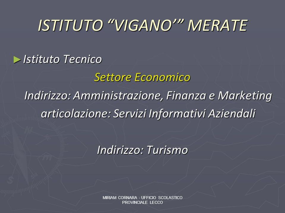 ISTITUTO VIGANO MERATE Istituto Tecnico Istituto Tecnico Settore Economico Indirizzo: Amministrazione, Finanza e Marketing Indirizzo: Amministrazione,