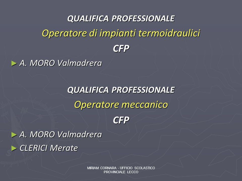 QUALIFICA PROFESSIONALE Operatore di impianti termoidraulici CFP A. MORO Valmadrera A. MORO Valmadrera QUALIFICA PROFESSIONALE Operatore meccanico CFP
