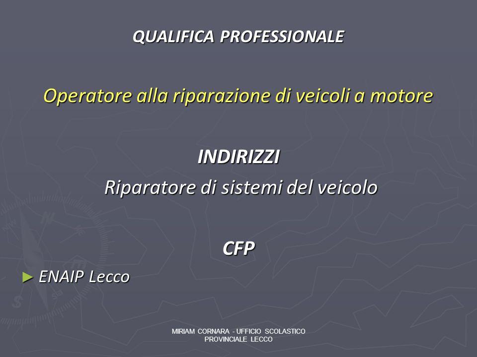 QUALIFICA PROFESSIONALE Operatore alla riparazione di veicoli a motore INDIRIZZI Riparatore di sistemi del veicolo Riparatore di sistemi del veicoloCF