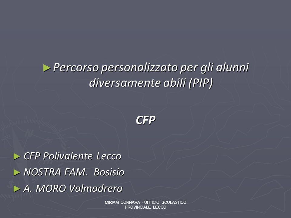 Percorso personalizzato per gli alunni diversamente abili (PIP) Percorso personalizzato per gli alunni diversamente abili (PIP)CFP CFP Polivalente Lec