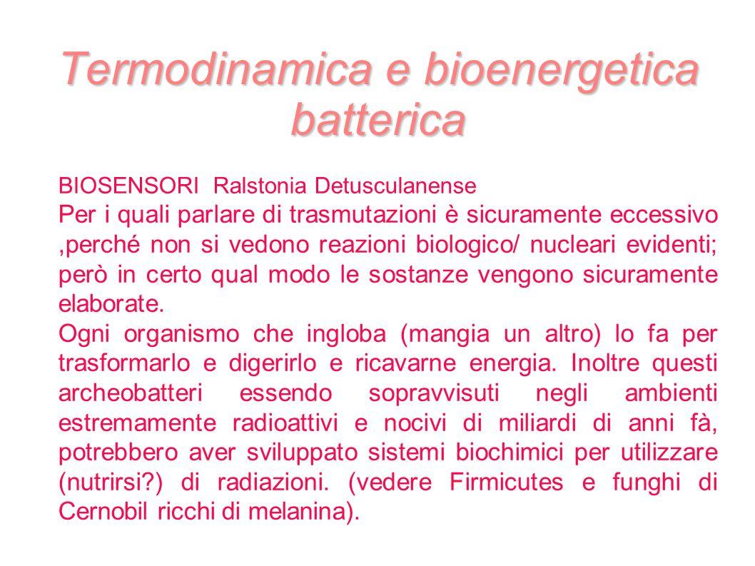 Termodinamica e bioenergetica batterica BIOSENSORI Ralstonia Detusculanense Per i quali parlare di trasmutazioni è sicuramente eccessivo,perché non si