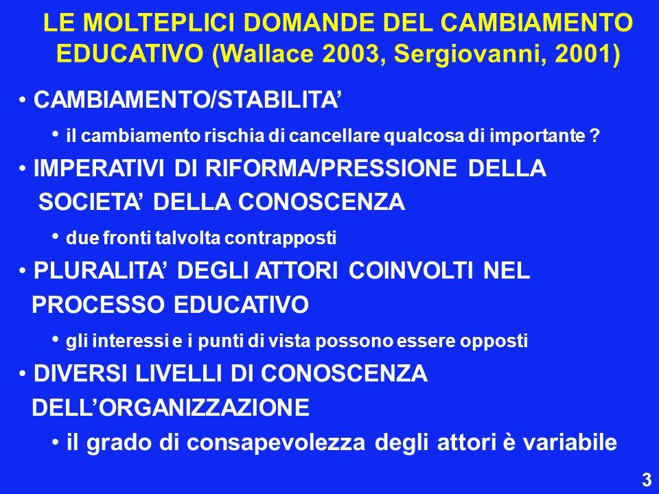 LE MOLTEPLICI DOMANDE DEL CAMBIAMENTO EDUCATIVO (Wallace 2003, Sergiovanni, 2001) CAMBIAMENTO/STABILITA il cambiamento rischia di cancellare qualcosa