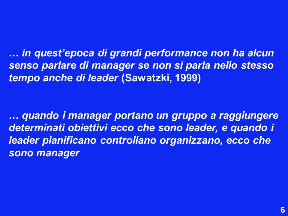 … in questepoca di grandi performance non ha alcun senso parlare di manager se non si parla nello stesso tempo anche di leader (Sawatzki, 1999) … quan