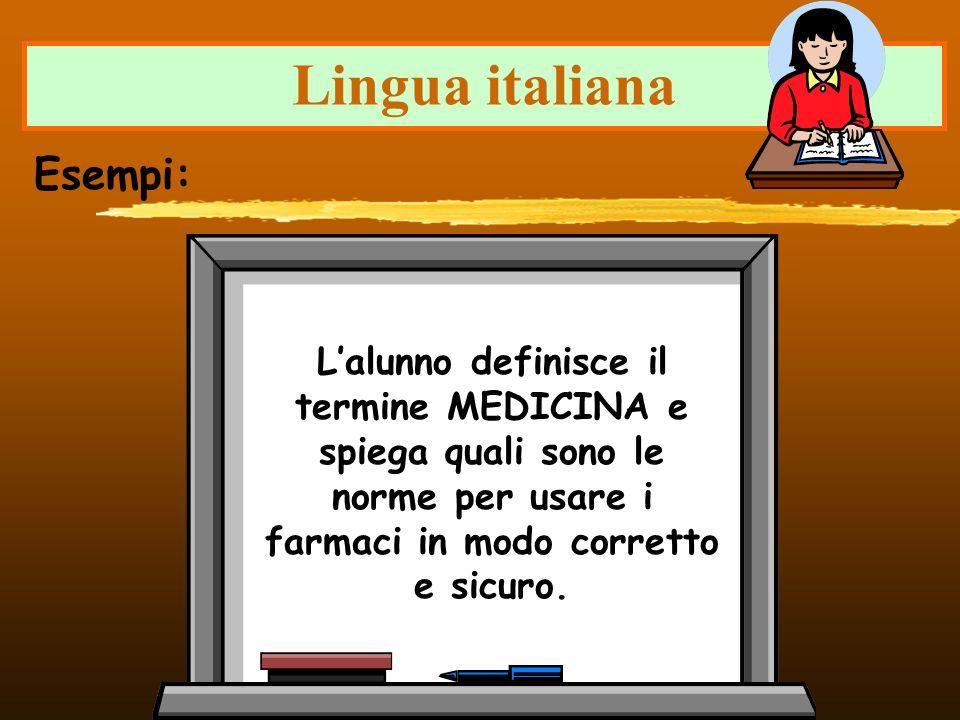 Lingua italiana Lalunno definisce il termine MEDICINA e spiega quali sono le norme per usare i farmaci in modo corretto e sicuro. Esempi: