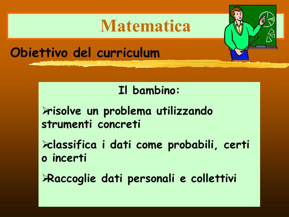 Matematica Il bambino: risolve un problema utilizzando strumenti concreti classifica i dati come probabili, certi o incerti Raccoglie dati personali e