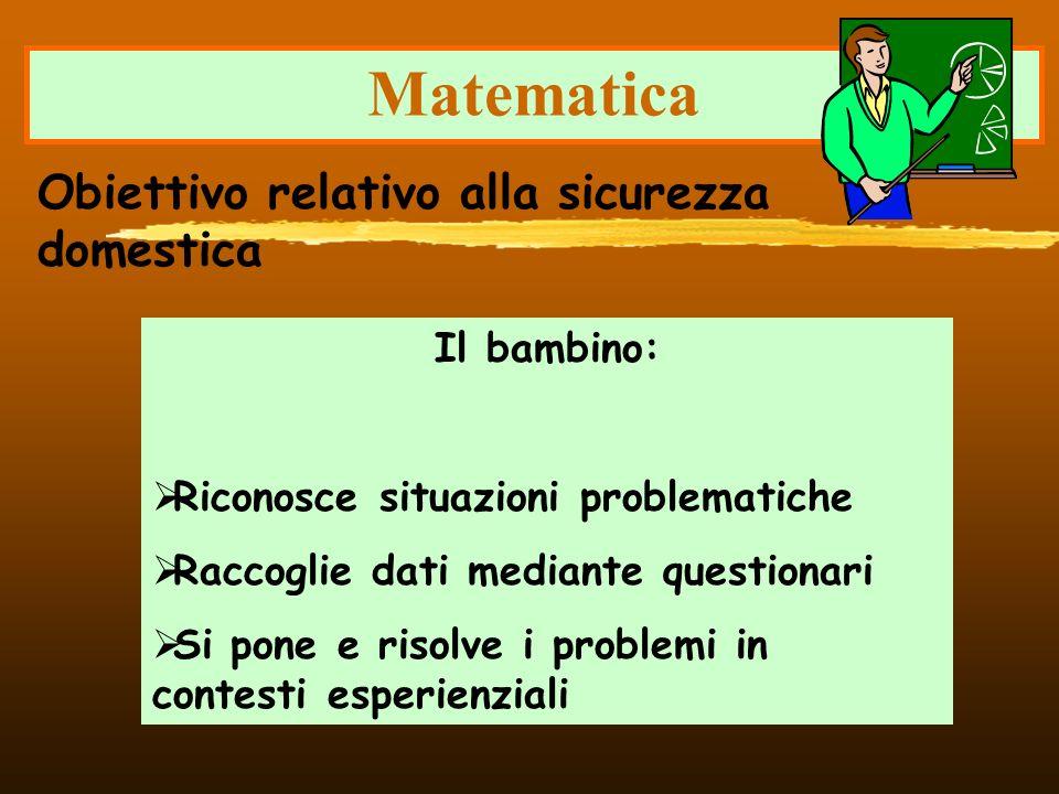 Matematica Il bambino: Riconosce situazioni problematiche Raccoglie dati mediante questionari Si pone e risolve i problemi in contesti esperienziali O