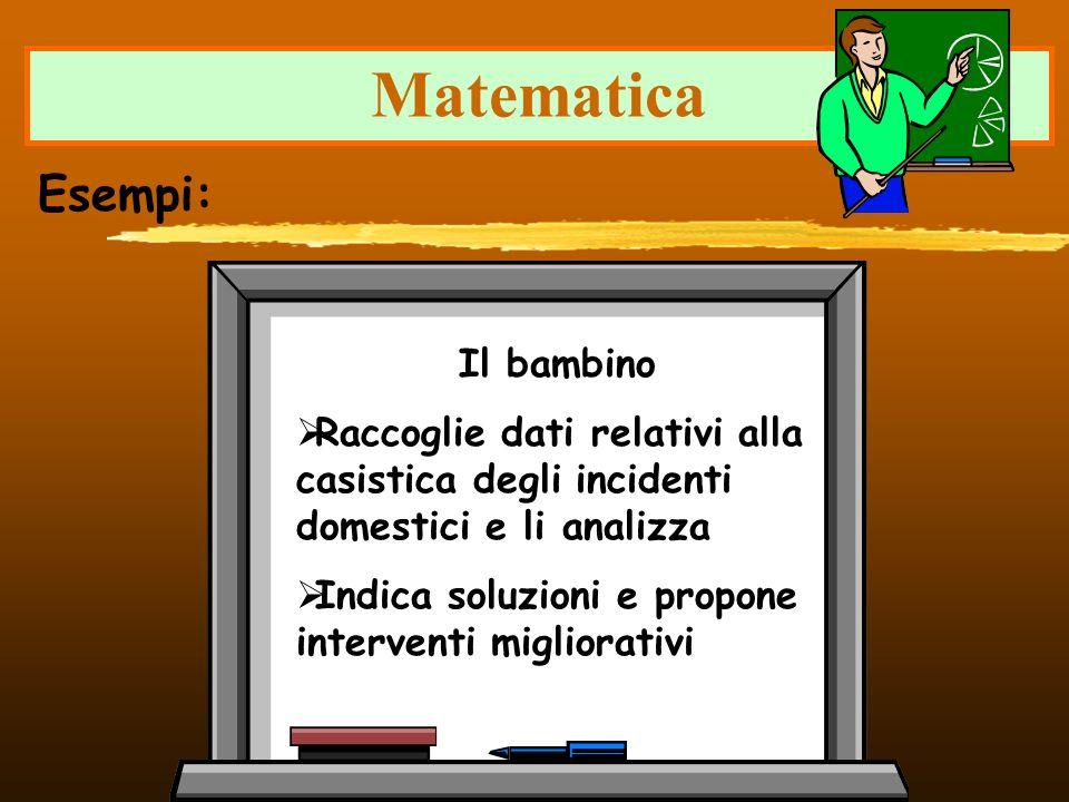 Matematica Il bambino Raccoglie dati relativi alla casistica degli incidenti domestici e li analizza Indica soluzioni e propone interventi migliorativ