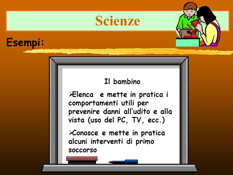 Scienze Esempi: Il bambino Elenca e mette in pratica i comportamenti utili per prevenire danni alludito e alla vista (uso del PC, TV, ecc.) Conosce e