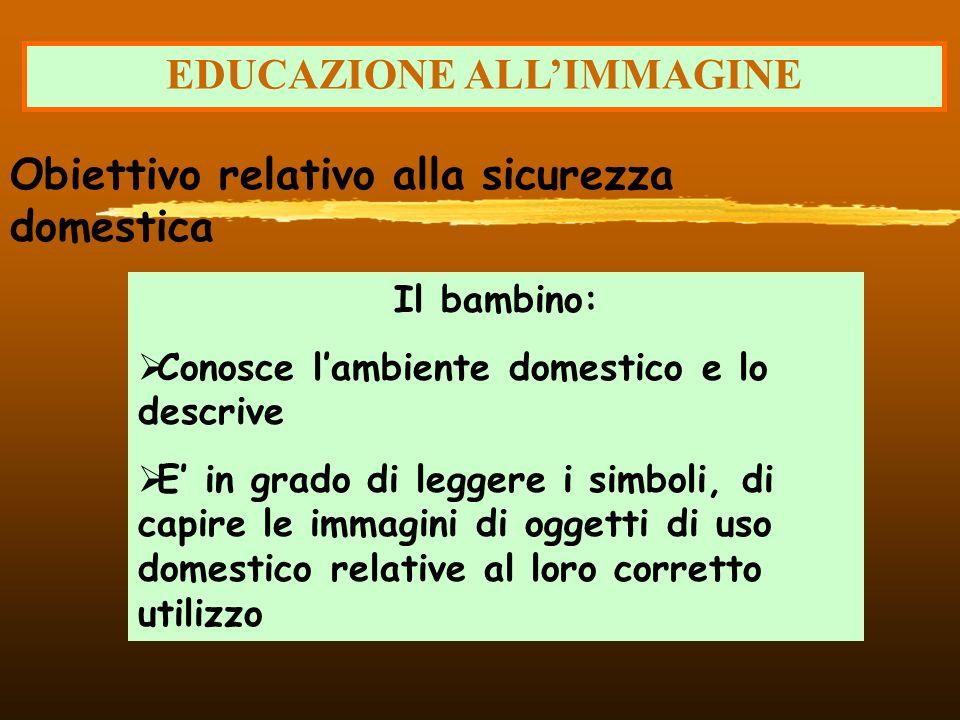 EDUCAZIONE ALLIMMAGINE Il bambino: Conosce lambiente domestico e lo descrive E in grado di leggere i simboli, di capire le immagini di oggetti di uso