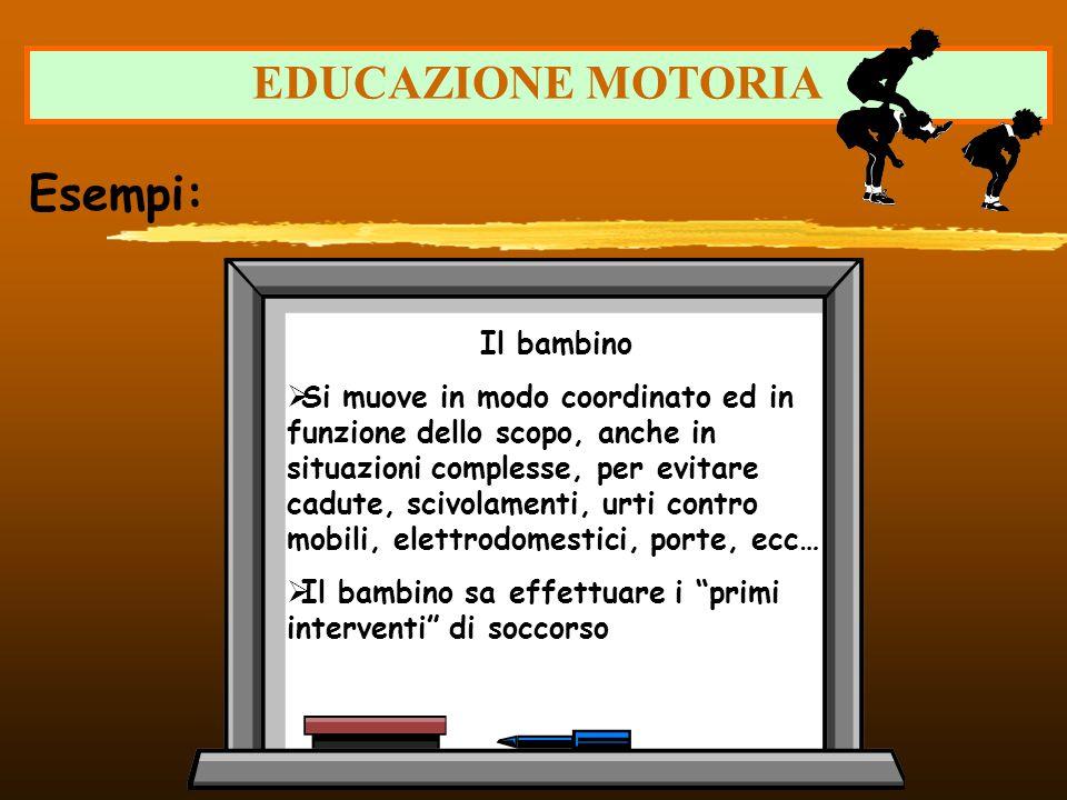 EDUCAZIONE MOTORIA Esempi: Il bambino Si muove in modo coordinato ed in funzione dello scopo, anche in situazioni complesse, per evitare cadute, scivo