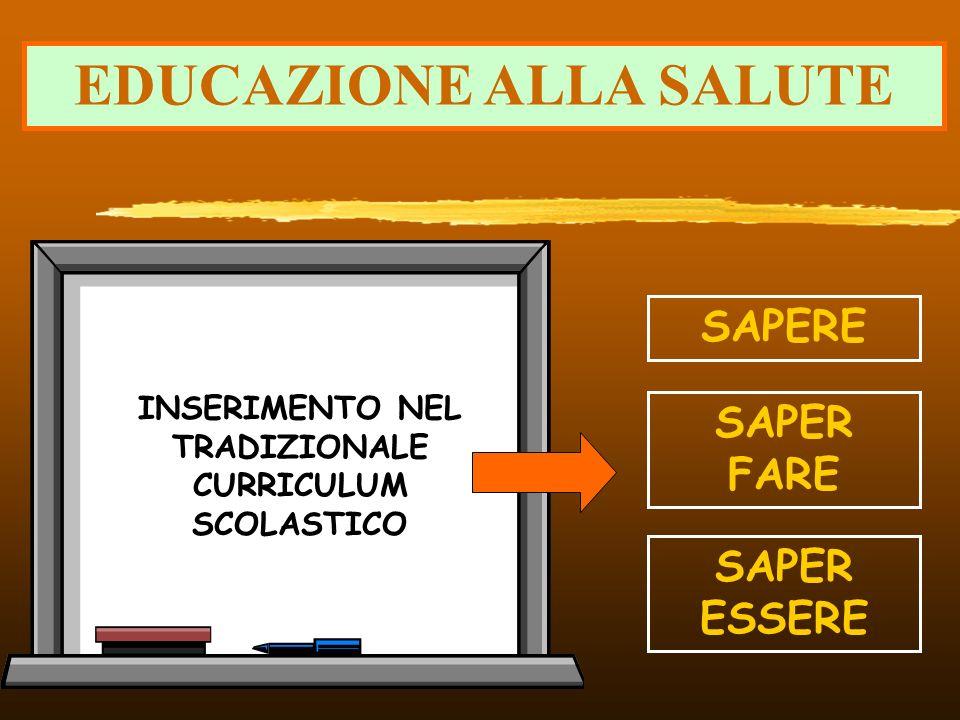 EDUCAZIONE ALLA SALUTE INSERIMENTO NEL TRADIZIONALE CURRICULUM SCOLASTICO SAPERE SAPER FARE SAPER ESSERE