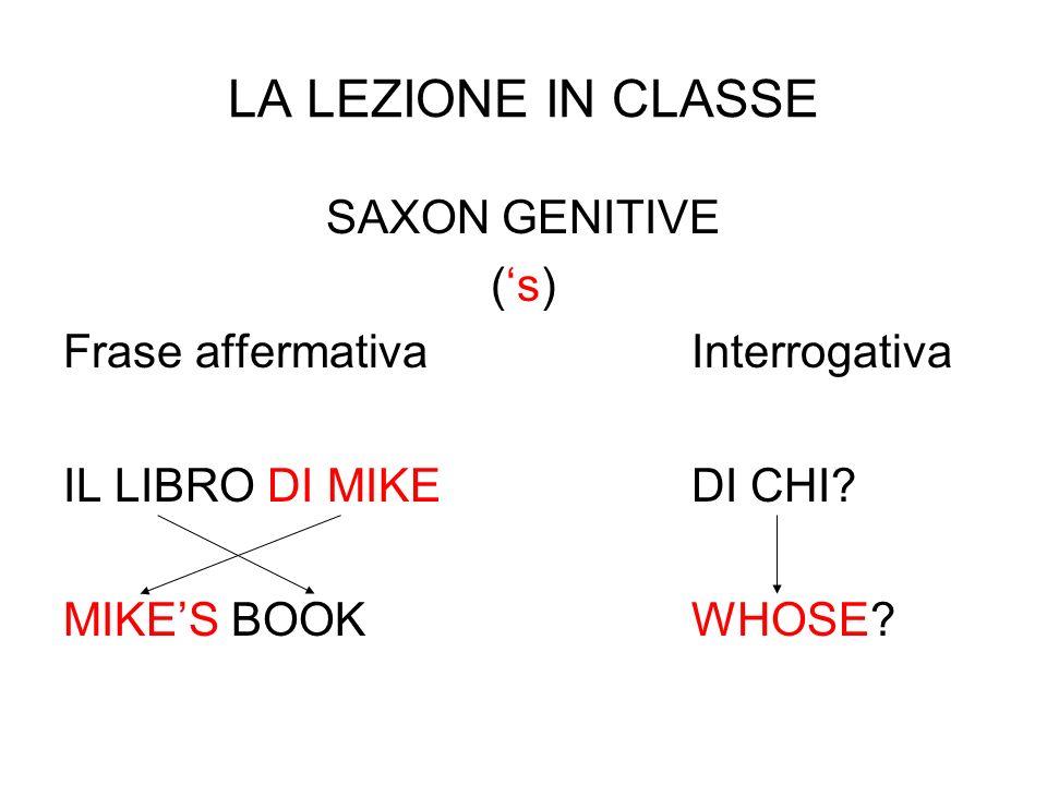 LA LEZIONE IN CLASSE SAXON GENITIVE (s) Frase affermativaInterrogativa IL LIBRO DI MIKEDI CHI.