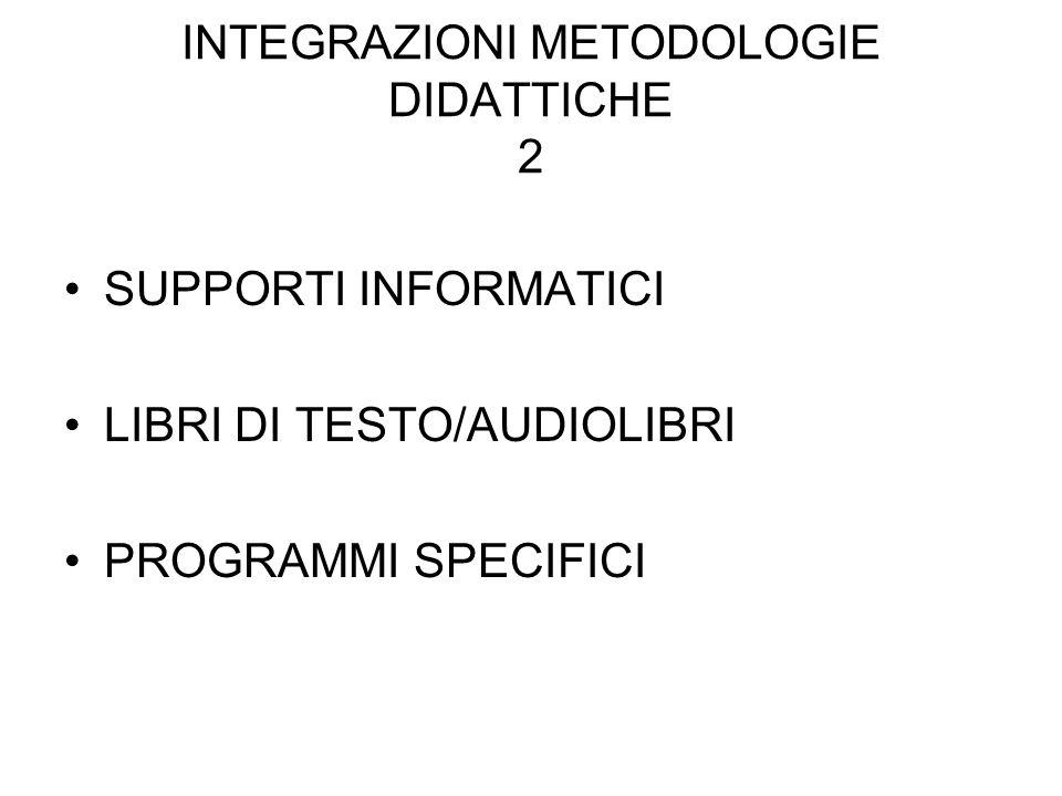 INTEGRAZIONI METODOLOGIE DIDATTICHE 2 SUPPORTI INFORMATICI LIBRI DI TESTO/AUDIOLIBRI PROGRAMMI SPECIFICI