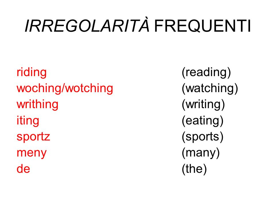 IRREGOLARITÀ FREQUENTI riding(reading) woching/wotching(watching) writhing(writing) iting(eating) sportz(sports) meny(many) de(the)