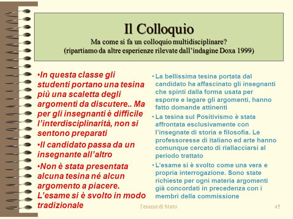 l esame di Stato45 Il Colloquio Ma come si fa un colloquio multidisciplinare.