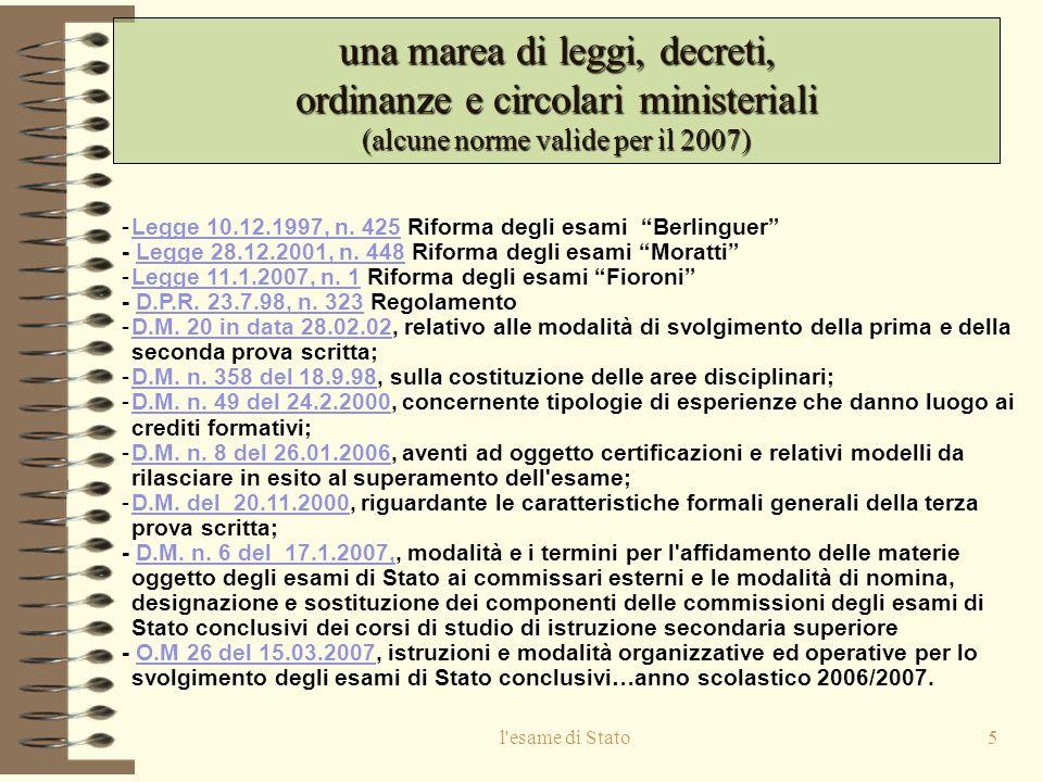 l esame di Stato5 una marea di leggi, decreti, ordinanze e circolari ministeriali (alcune norme valide per il 2007) -Legge 10.12.1997, n.