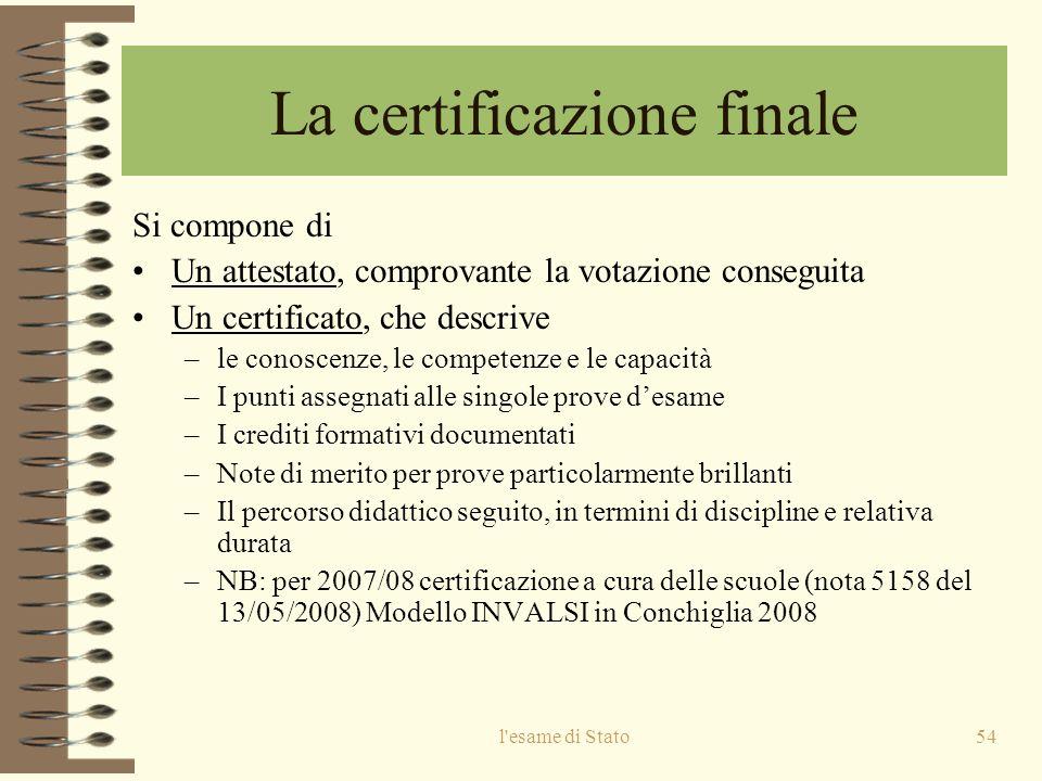 l esame di Stato54 La certificazione finale Si compone di Un attestato, comprovante la votazione conseguita Un certificato, che descrive –le conoscenze, le competenze e le capacità –I punti assegnati alle singole prove desame –I crediti formativi documentati –Note di merito per prove particolarmente brillanti –Il percorso didattico seguito, in termini di discipline e relativa durata –NB: per 2007/08 certificazione a cura delle scuole (nota 5158 del 13/05/2008) Modello INVALSI in Conchiglia 2008