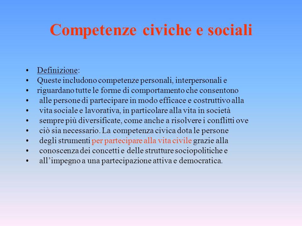 Competenze civiche e sociali Definizione: Queste includono competenze personali, interpersonali e riguardano tutte le forme di comportamento che conse