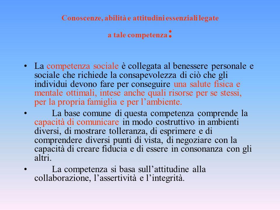 Conoscenze, abilità e attitudini essenziali legate a tale competenza : La competenza sociale è collegata al benessere personale e sociale che richiede